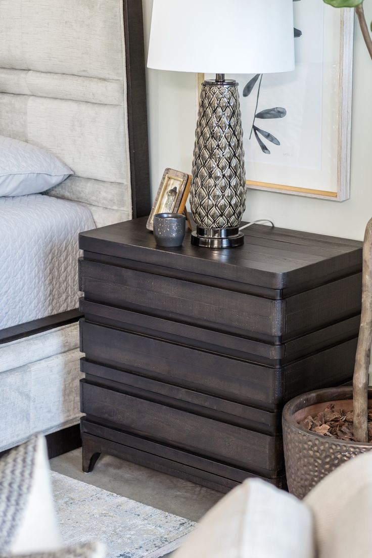Transitional Rectangular Nightstand in Brown in 2019