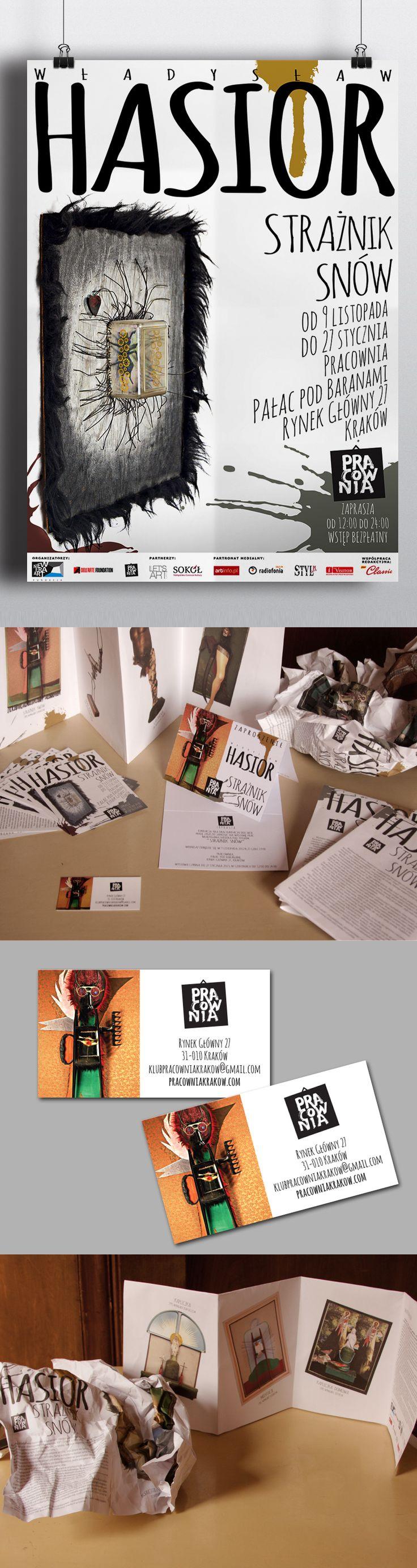 Zestaw materiałów promujących wystawę prac Władysława Hasiora w Piwnicy pod Baranami. Projekt obejmował przygotowanie plakatu, zaproszeń, ulotek, wizytówek, tablic informacyjnych oraz katalogu.