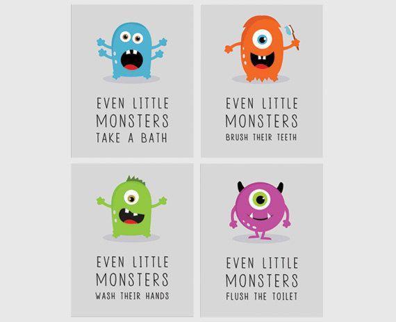 monsters bathroom nursery wall art set of 4 kids by