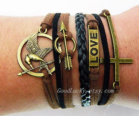 Gifts for Teen Fans of The Hunger Games Catching Fire: Leather Bracelet by Charm Jewelry Bracelet @ Etsy