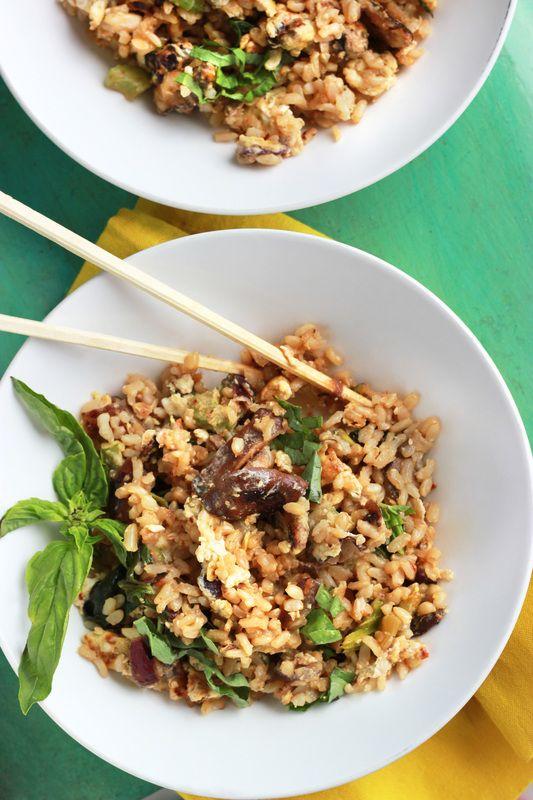 Basil Fried Rice with Shiitake Mushrooms