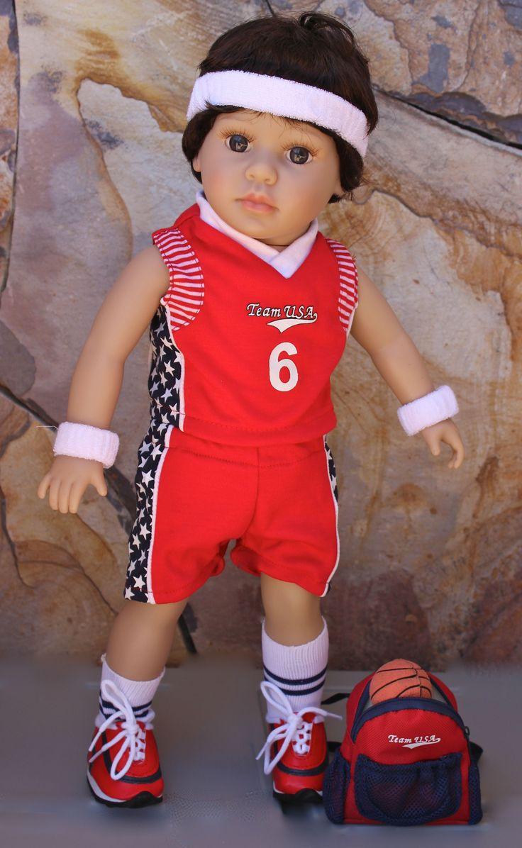 """18"""" Harmony Club Doll, Mason wearing a boy doll basketball uniform. Available at www.harmonyclubdolls.com"""