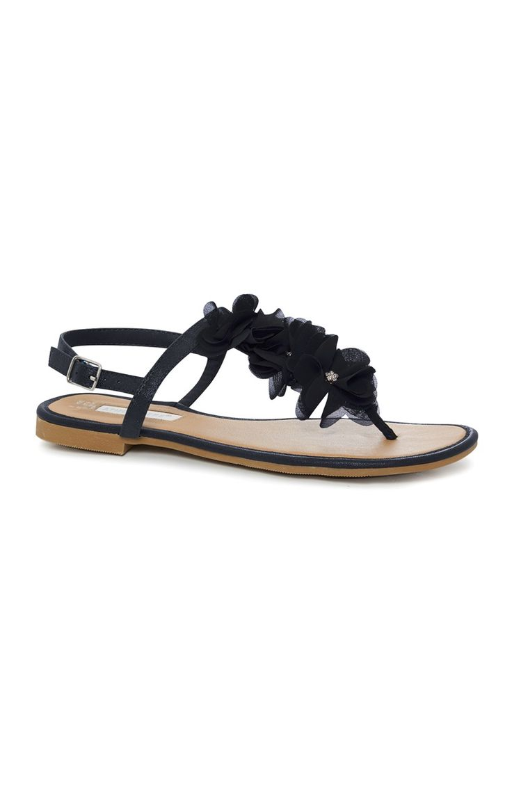 Zwarte sandaal met stoffen bloemen