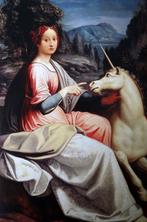 Luca Longhi,The Lady and the Unicorn(possibly a portrait of... #LoveArt - https://wp.me/p6qjkV-lwJ  #Art
