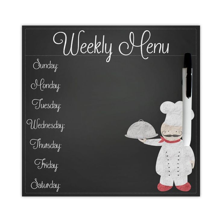 Chef dry erase menu board, weekly menu board, dinner menu board, faux chalkboard menu, fat chef decor, comes with magnet and velcro strip by PaperKStudios on Etsy