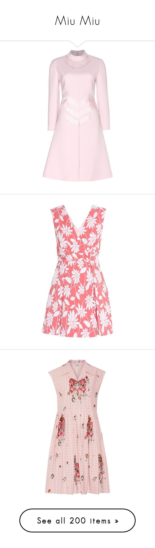 """""""Miu Miu"""" by snugget9530 ❤ liked on Polyvore featuring dresses, miu miu, fringe dress, pink fringe dress, miu miu dress, glass dress, pink, pink red dress, red dress and jacquard dress"""