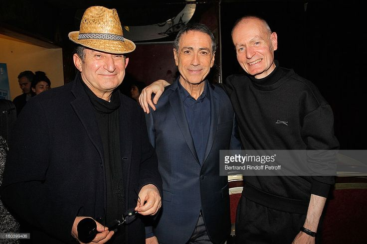 Jean-Noel Chaleat, Alain Chamfort and Jacques Duvall pose at Le Grand Rex following Alain Chamfort's concert on January 30, 2013 in Paris, France.