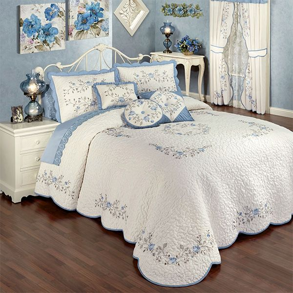Antique Charm Floral Oversized Quilted Bedspread Bedding Bedroom Vintage Shabby Chic Bedrooms Chic Bedroom