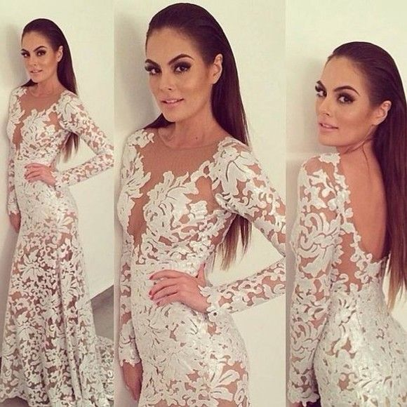 $189--2014 Sexy Lace See Through Long Sleeve prom Dress FROM 27DRESS.COM