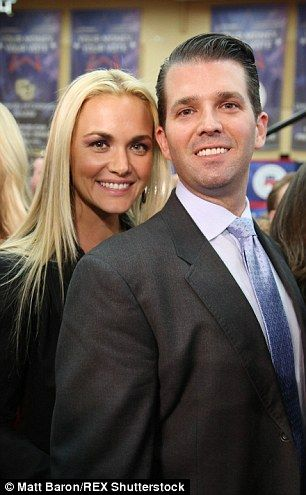Proud sons: Donald Jr, 37, was accompanied by his wife Vanessa...