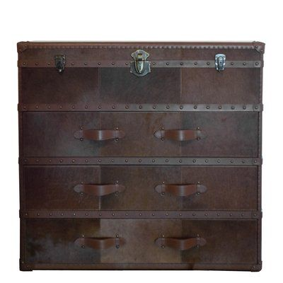 Serge De Troyer Collection Leather Dresser Color: Hair-on-Hide Brown & White, Nailhead Trim: No Studs