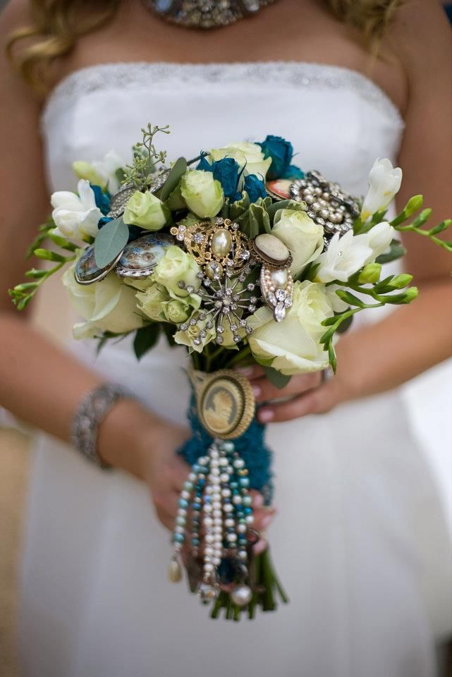 Bride's bouquet from a Victorian vintage wedding. Photo by Maya Myers Photography via Stacey Lynn Design.