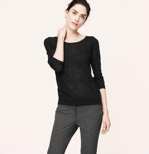 Diamond Pointelle Sweater | Loft