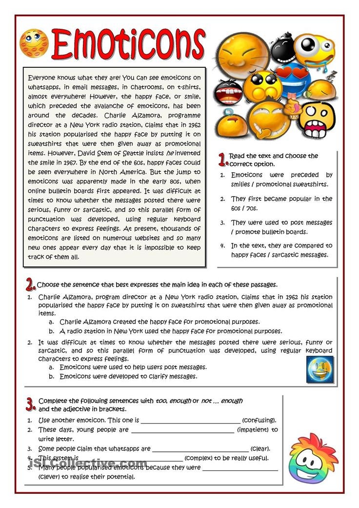 Worksheet About Emoticons Esl Worksheet Of The Day By