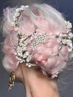 fashion Model floral pink hair colored hair dyed hair braids runway e fashion week catwalk hairdo edited hair