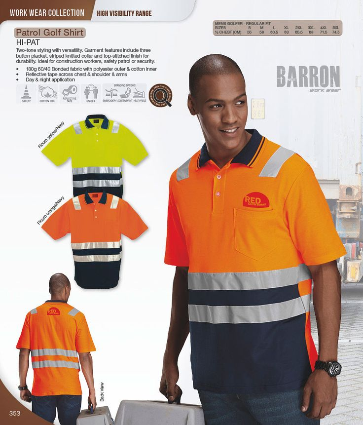Reflective golf shirt - hi vis clothing South Africa #highvisibility #safetywear #workwear #hivis #highvis #reflectiveclothing