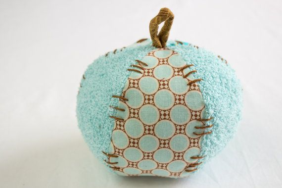 Baby Ball Soft Toy,Bath Toy,Flower Applique,  Hand Embroidered,Organic Cotton and Terry Cloth,Tan,Turquoise,Aqua