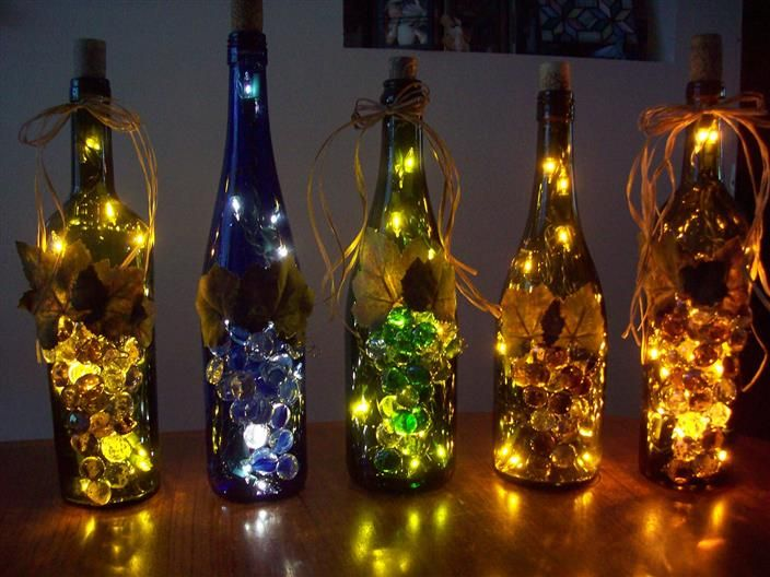 39 best empty bottle crafts images on pinterest for Lamps made out of wine bottles
