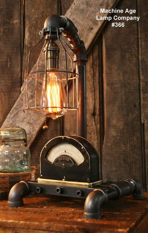 Steampunk Industrial Lamp, Weston Power Meter (Ready to Ship) #366