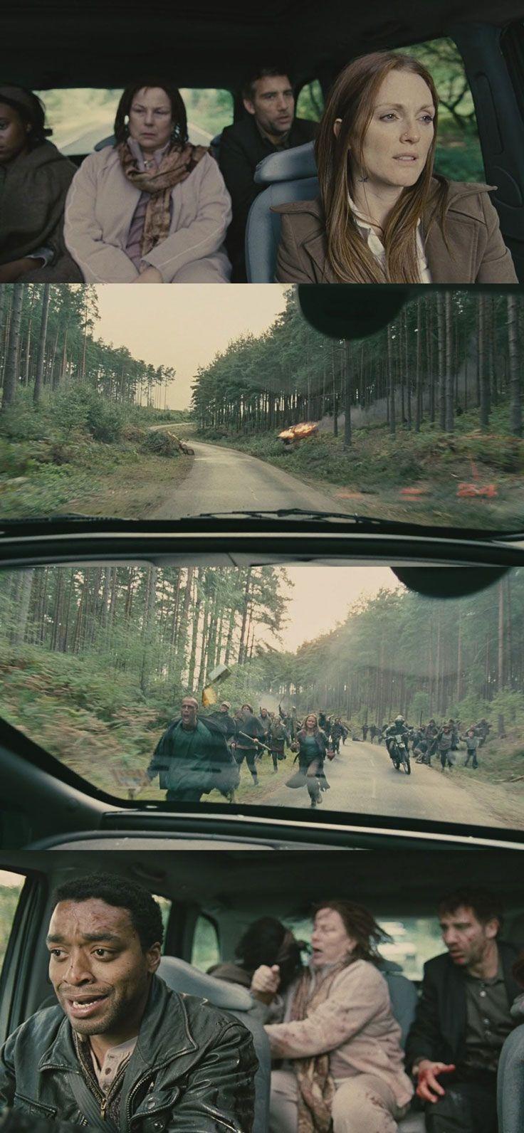 Thrilling single-shot sequence: the road ambush in Children of Men (2006). Cinematography by Emmanuel Lubezki.