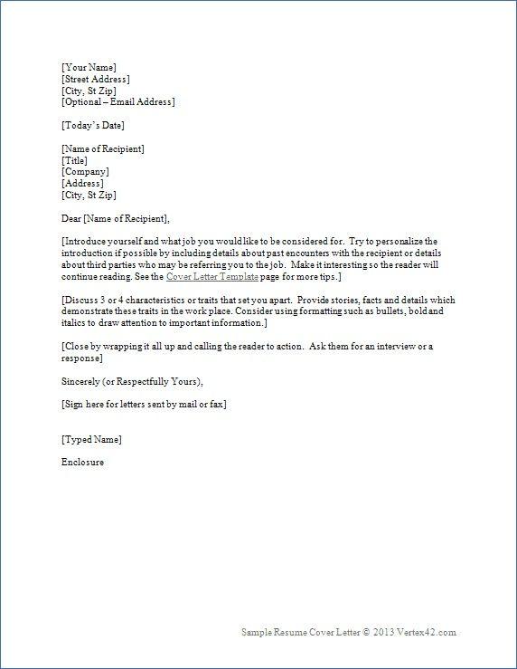 Resume Cover Letter For Employment - Resume Cover Letter For