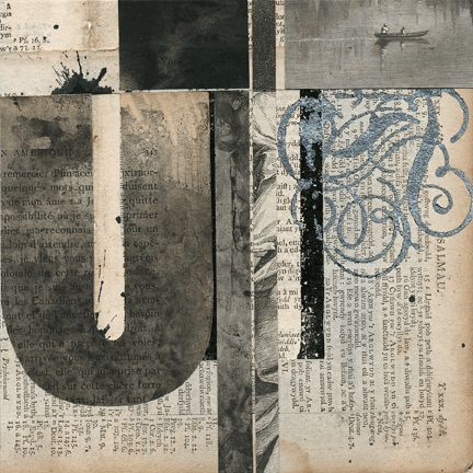 "Notations #9 - Collage - Image 6"" x 6"" - Mounted on panel - 1/4"" thick - by Janet Jones"