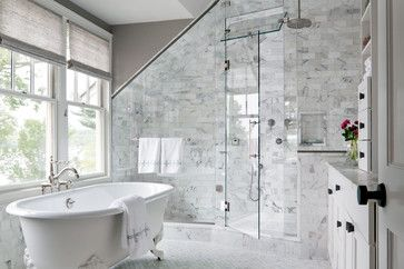 When designing a steam shower, make sure the shower ceiling has a slight slope to it so water droplets roll to one side and down the shower wall, rather than onto your head.