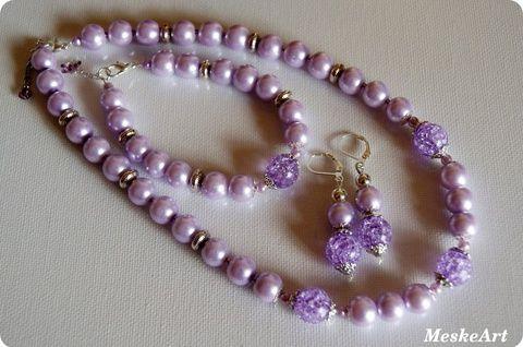 Light purple jewellery set / Világoslila ragyogás ékszerszett - üveg teklagyöngyökből, Ékszer, óra, Ékszerszett, Fülbevaló, Karkötő, Meska
