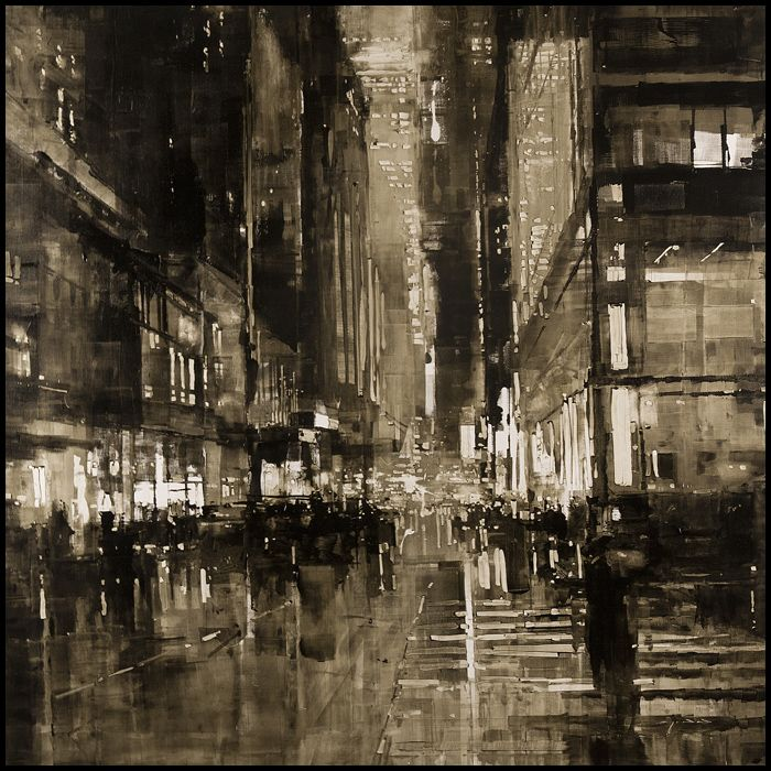 "Compositions by Jeremy Mann ""Composition #121"" - Oil on Panel - 48 x 48 in. - The Christopher Hill Gallery"