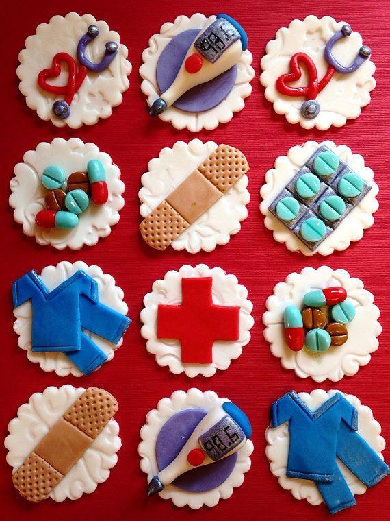 12 Edible Medical Cupcake Toppers - Healthcare - Fondant - Nurse - Doctor - Nursing - Hospital - Bandaid - Scrubs
