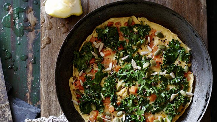 Healthy breakfast: Kale and a sprinkling of crunchy seeds turn a regular egg 'n' spud tortilla into something altogether more special.