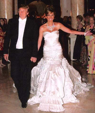 When Melania Knauss married Donald Trump in 2005, she wore a John Galliano gown that weighs an incredible 50 pounds. The dress, which has a 13-foot train, is created from 300 feet of white duchesse satin and features 1,500 pearls and crystal rhinestones.