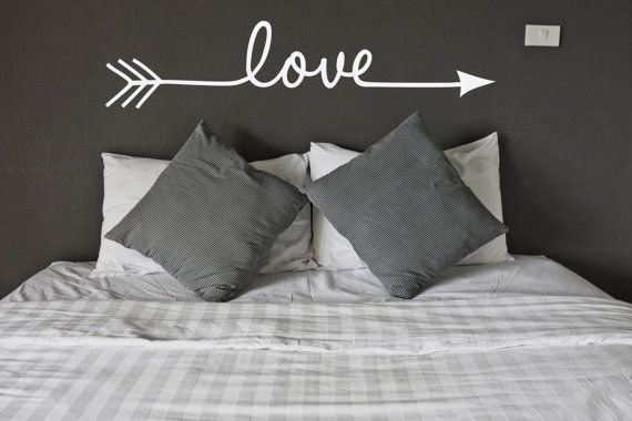Love Arrow Vinyl Wall Decal - Indie / Boho Decor, Feather and Arrow, Tribal Design, Girls Bedroom Wall Decor, Gift for Her, Love Signs