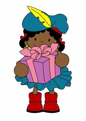 Leuke kaart van Zwarte Piet met cadeautje van Ontwerp Studio GIJNig.