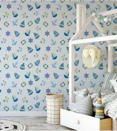 Papel de parede para quarto infantil, bebê estilo marinheiro azul Informações básicas Produto de fácil aplicação. Adesivo autocolante e lavavél. Durante...
