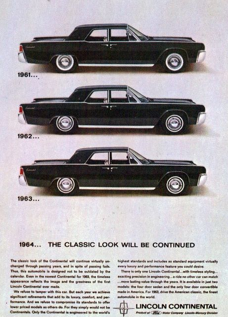 1961, 1962 & 1963 Lincoln Continental Sedan by coconv, via Flickr