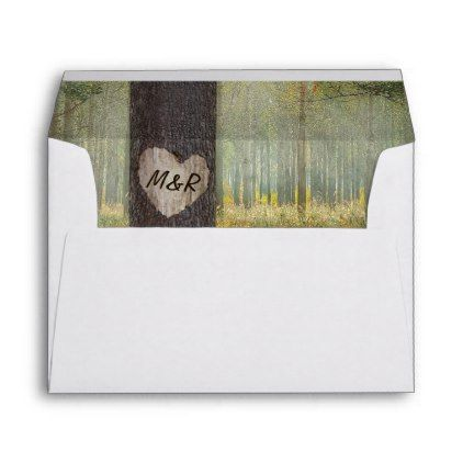 #Rustic Carved Heart Tree Woodland Wedding Envelope - #Wedding #Printed & #Mailing #Envelopes #weddinginvitations #wedding #invitations #party #card #cards #invitation