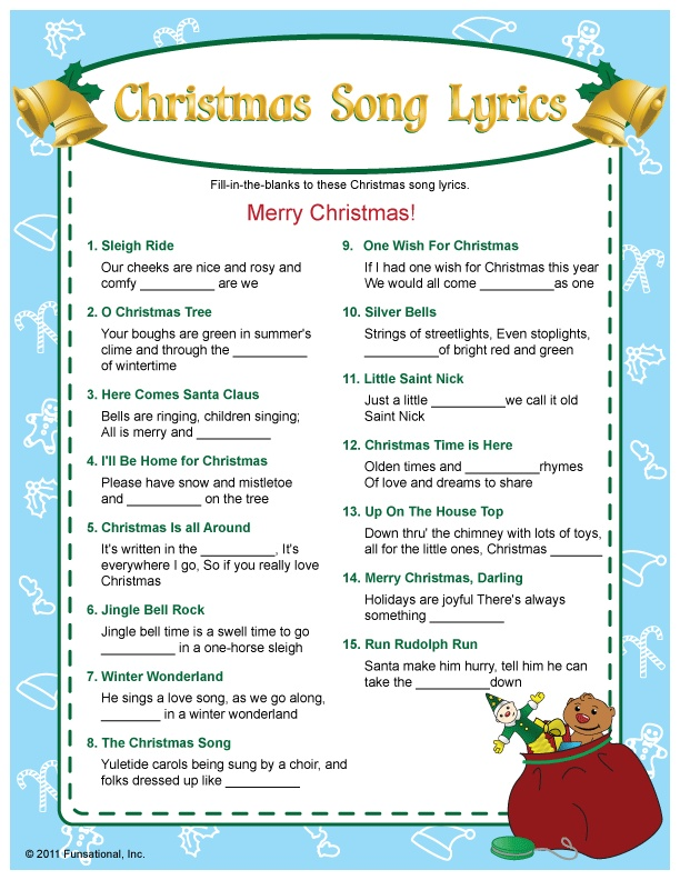 It is a graphic of Clean Printable Christmas Song Games