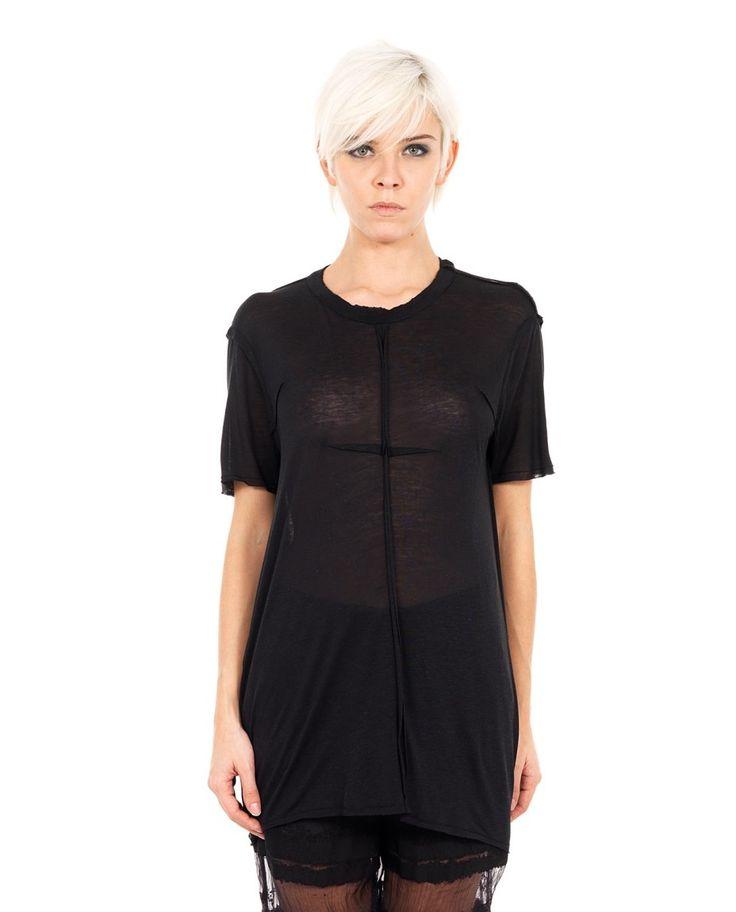 DAMIR DOMA TRANSPARENT T-SHIRT S/S 2016 Black oversized T-shirt  round neckline  short sleeves  relief seams back opening    80% VI 10% SE 10% LI