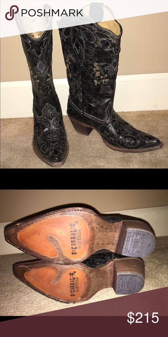 Corral Vintage Boots Ladies corral vintage boots size 6. NEVER WORN! Black with lizard inlay. Shoes Heeled Boots