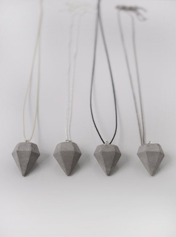 Small concrete diamond necklace by frauklarer on Etsy, €22.00