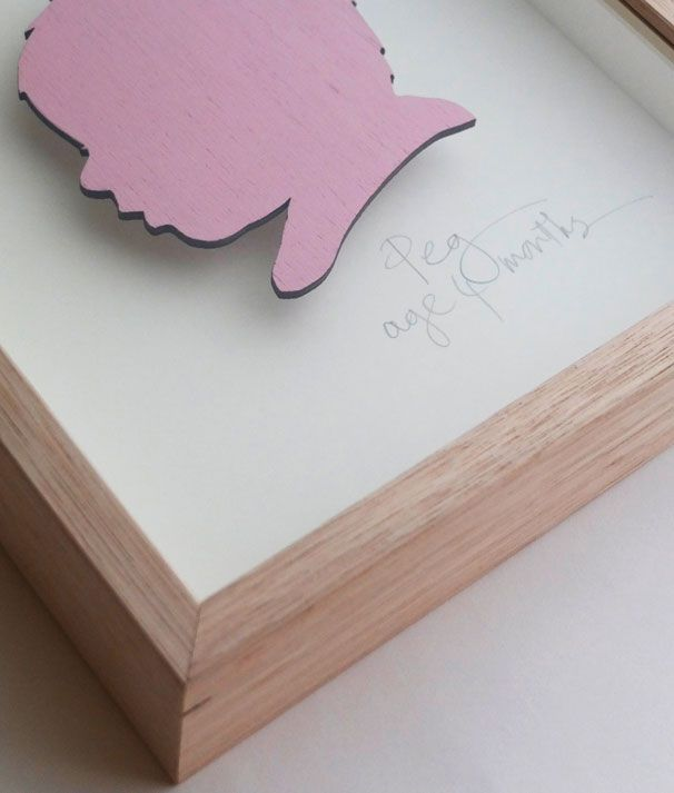 Peg. 3mm plywood silhouette painted in Birthday Candle, cream mount. Name/age hand written in pencil. Oak frame. 250mm high x 230mm wide x 50mm deep.