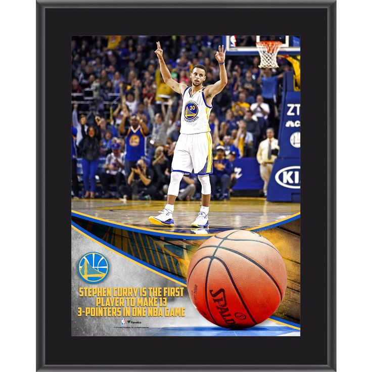 "Stephen Curry Golden State Warriors Fanatics Authentic 10.5"" x 13"" NBA Record 13 3-Pointers Sublimated Plaque - $23.99"