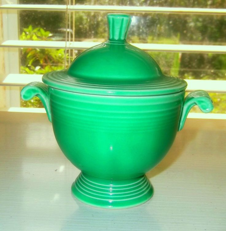 Great Vintage Fiesta Ware Covered Green Sugar Bowl By Devatreasures On Etsy  Https://www