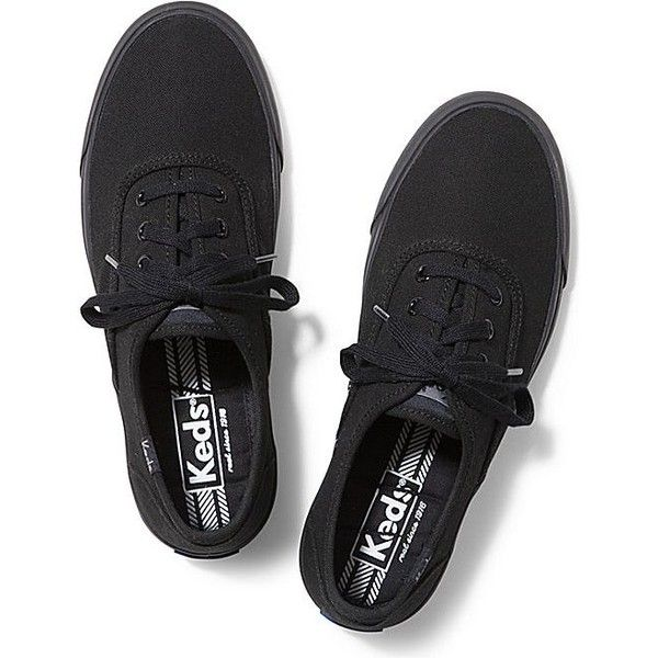 Keds Triumph ($50) ❤ liked on Polyvore featuring shoes, sneakers, black black, kohl shoes, black sneakers, black trainers, keds and keds footwear