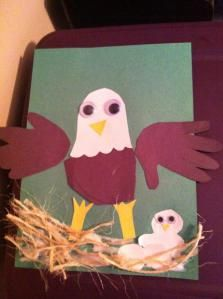 Baby eagle in nest paper craft