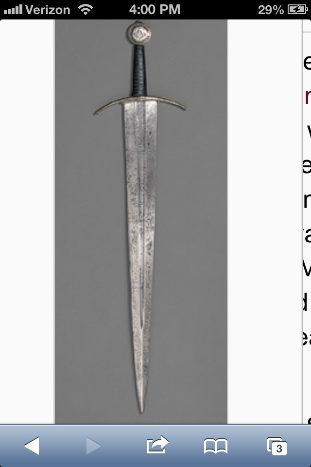 "Made of steel, silver, copper, and metal. This sword is dated circa 1400 AD. ""Sword [Western European] (32.75.225)"". In Heilbrunn Timeline of Art History. New York: The Metropolitan Museum of Art, 2000–. http://www.metmuseum.org/toah/works-of-art/32.75.225 (October 2006)"