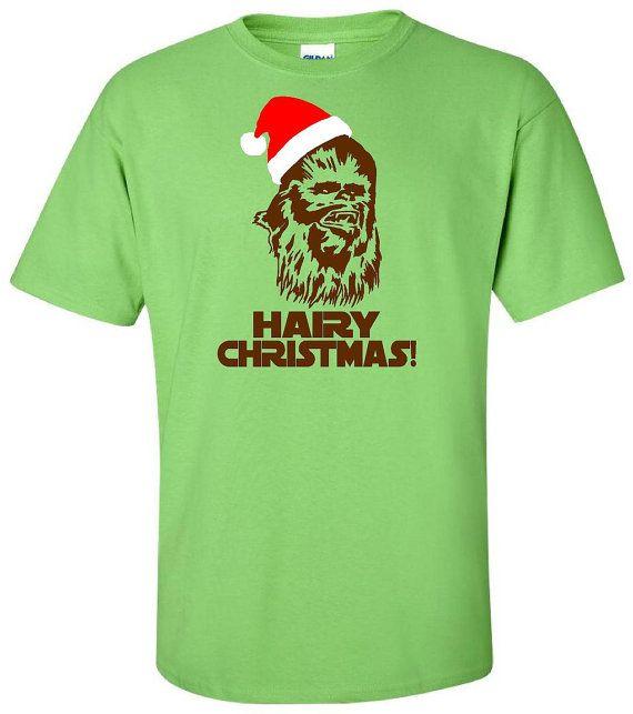 Hairy Christmas Chewbacca T Shirt - Star Wars T Shirt - Chewbacca In Santa Hat - Christmas T Shirt Disney - Adult Unisex Gildan - Episode 7