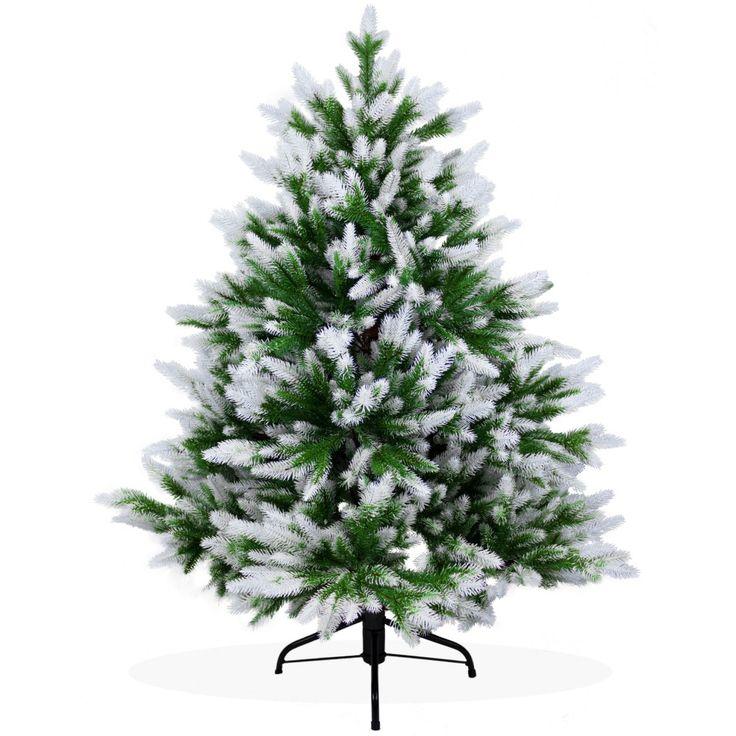 Künstlicher Weihnachtsbaum 120cm DeLuxe PE Spritzguss, beschneiter Tannenbaum Nordmanntanne, Christbaum
