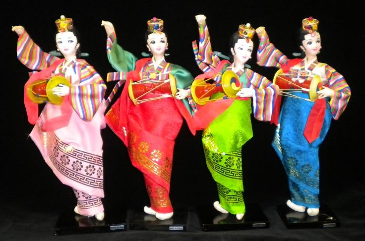 Vintage Traditional Korean Silk Dolls